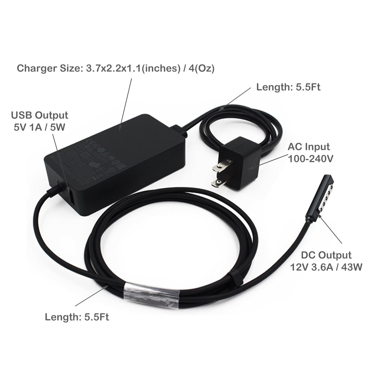 PoderCamino 48W Charger Power Supply for 12V 3.6A Surface RT Surface Pro 1/2 and Surface 2 Tablet, Replace for Microsoft Surface 1512 1516 1536 Charger Adapter Cord with 5V 1A USB Charging Port by PoderCamino (Image #8)