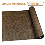 TANG Sunshades Depot 8'x15' Shade Cloth 180 GSM HDPE Brown Fabric Roll Up to 95% Blockage UV Resistant Mesh Net for Outdoor Backyard Garden Plant Barn Greenhouse