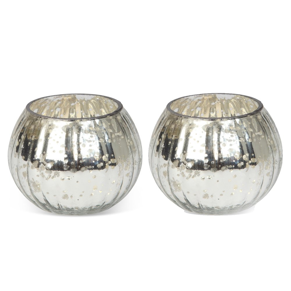 Culinary Concepts Pair of Small Globe Tea Light Holders - Silver