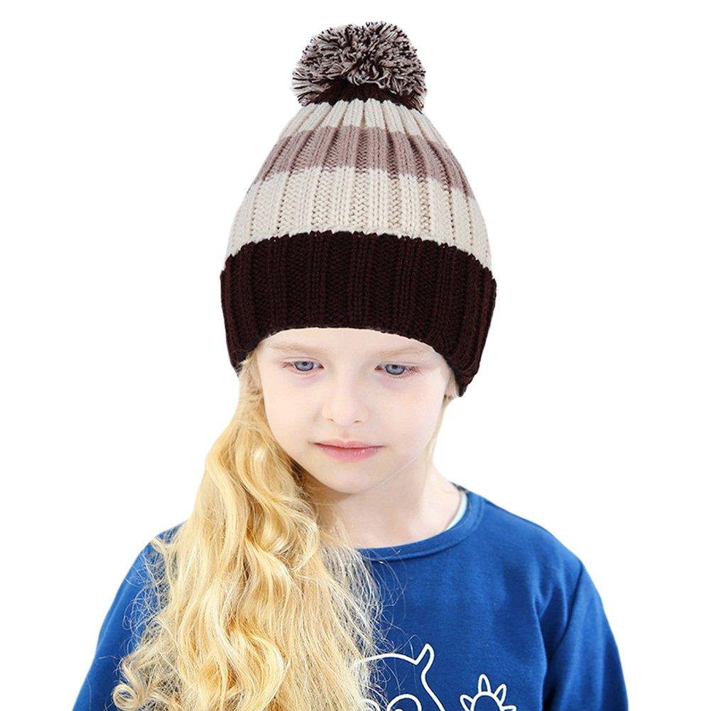 Tortor 1Bacha Baby Kid Boy Girl Pom Pom Stripe Knit Cuffed Beanie Bobble Hat