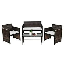 picture of Goplus Outdoor Garden Patio 4-Piece Cushioned Seat