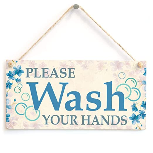 Mr.sign Please Wash Your Hands Cartel de Pared Madera Placa ...