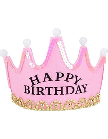 Frcolor Cappello Compleanno Happy Birthday Buon Compleanno Diadema Corona  con Luce Led (Rosa) e5fb05673424