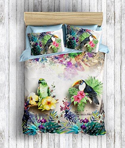 DecoMood 3D Printed 100% Cotton Birds Bedding Set, Parrot Flowers Themed Hawaiian Style Tropical Island Bed Set, Full/Queen Size Quilt/Duvet Cover Set, (3 Pcs)