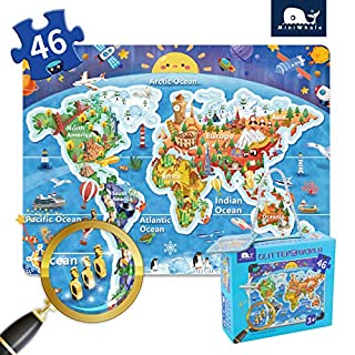 Kids Puzzle for Kids Ages 4-8 World map Floor Puzzle Raising Children Recognition Promotes Hand Eye Coordinatio (Loose Powder Process Bulge Design,46Pcs,24x18in)