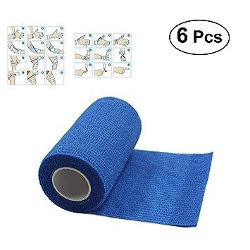6 Rollen 10cm x 4,5m selbstklebende Bandage nilo Haftbandagen blau elastische Bandage