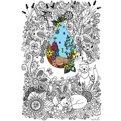 Great2bColorful Original Big Coloring Poster (24''x 36'') Doodle Art Cats]()