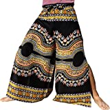 Raan Pah Muang Silky Rayon Drive In Wrap Pants Light African Dashiki Art Viscose, Medium, Black