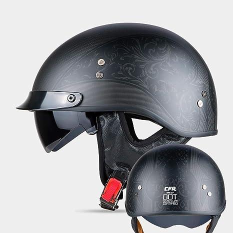 Ultraligero Alta Dureza Cuello C/álido Desmontable Transpirable Adulto Hombres Mujeres Dot Certificado Negro Mate LALEO Vintage Harley Fibra de Carbono Cascos Moto Half-Helmet