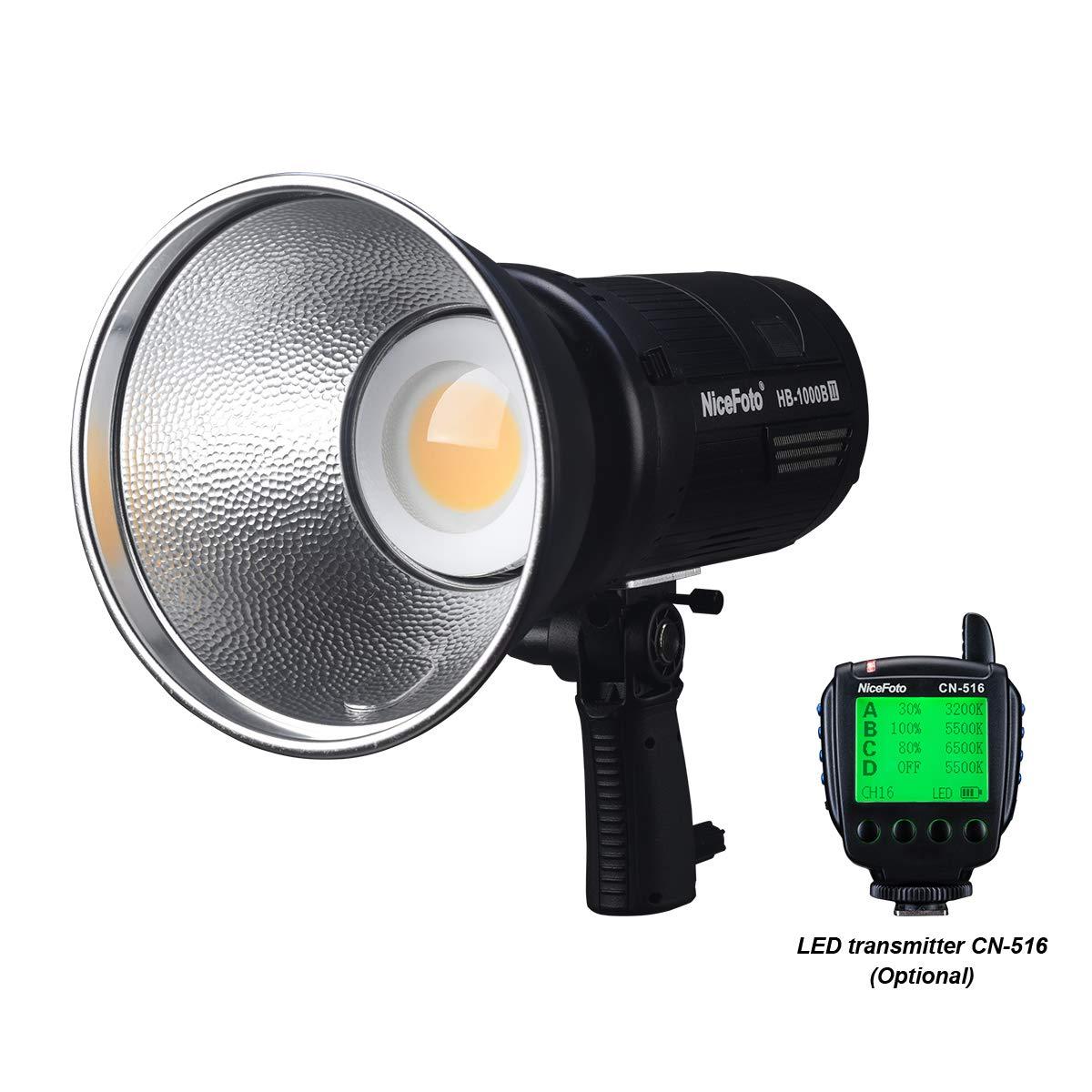 NiceFoto HB-1000B II LED ビデオ ライト 100W 3200K/5500K Bluetooth 2.4G レシーバー 無段階調光対応 CRI/TLCI 96+ 内蔵充電式リチウム電池 アウトドア & 屋内 LED 撮影ライト プロのビデオ制作 放送 テレビインタビューなど(CN-516リモコン付き) HB-1000B II+CN-516リモコン  B07RGQ3T69