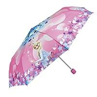 Parapluie Disney Frozen Fille - Parapluie Pliant Enfant La Reine des Neiges - Mini Pliable avec impression Elsa - Léger Compact et Antivent - 7+ Ans - Diamètre 91 cm - Perletti