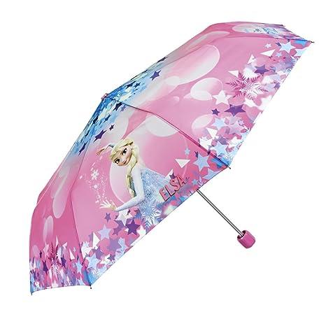 Paraguas Disney Frozen Niña - Mini Paraguas con Estampado Elsa - Plegable Ligero Compacto y Antiviento