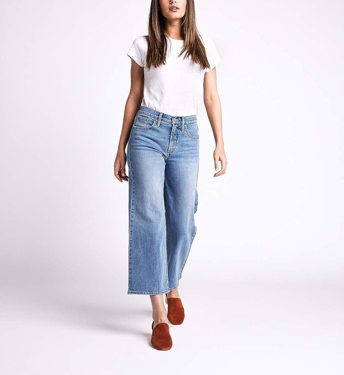 Silver Jeans Co Womens Go High Rise Wide Leg Crop