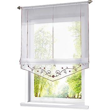 ESLIR Raffrollo mit Schlaufen Raffgardinen Gardinen Küche Transparent  Schlaufenrollo Vorhänge Bestickt Modern Voile Rot BxH 120x140cm 1 Stück