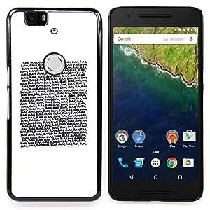 Stuss Case / Funda Carcasa protectora - Texto de lectura Cita blanca minimalista - Huawei Google Nexus 6P