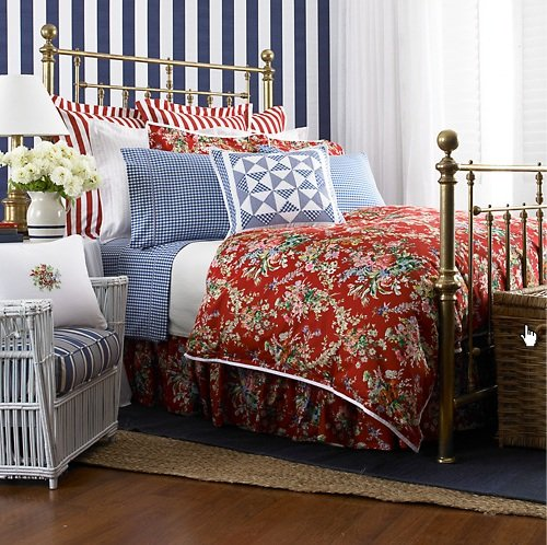 Amazon Com Ralph Lauren Bedding Belle Harbor Red Floral Full