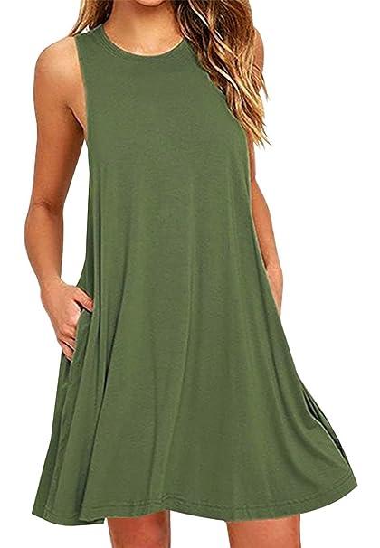 YMING Women s Casual T-Shirt Mini Dress Swing A Line Summer Beach Dress 844986341