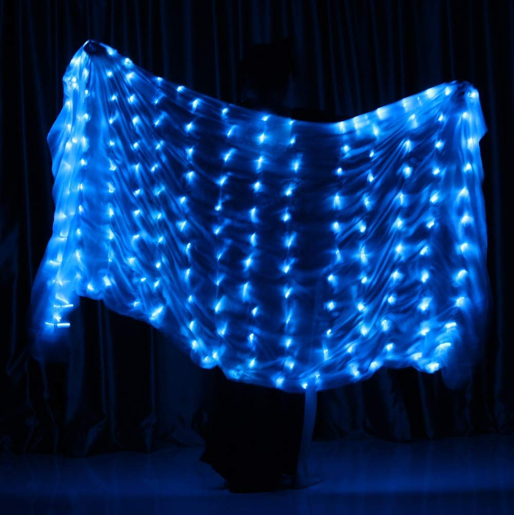 bluee Belly Dance Props LED Silk Scarf Dance Performance Practice Props Hand Throw Shawl Dance LED Glow Scarf