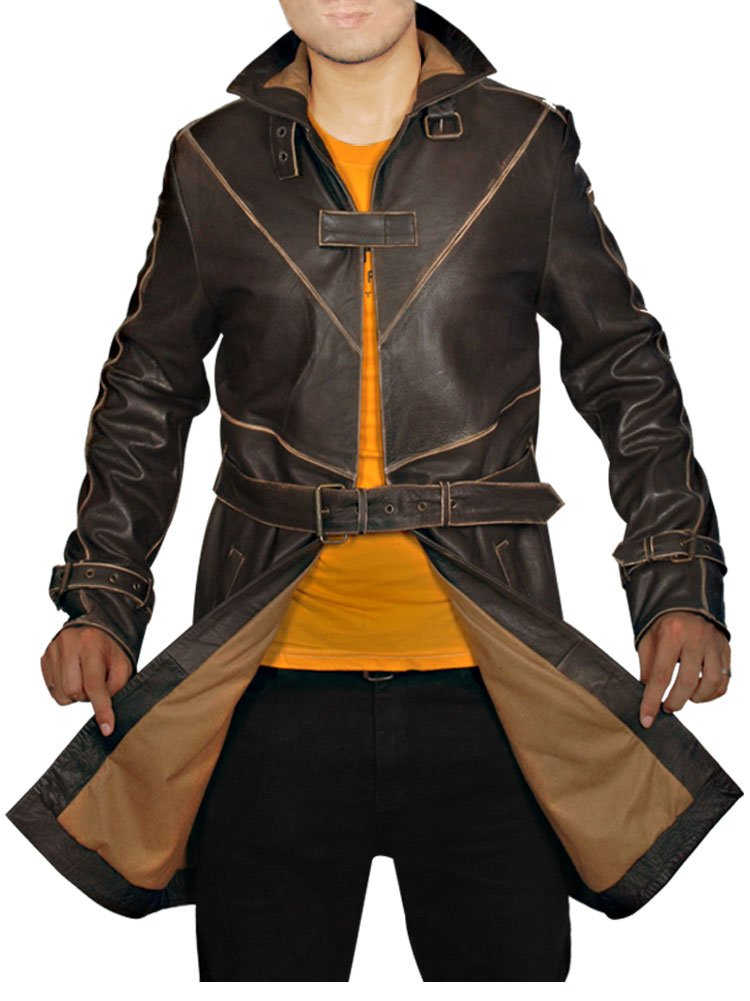 Outfitter Jackets Men's Aiden Pearce Watch Dogs Coat Jacket Medium Brown by Outfitter Jackets