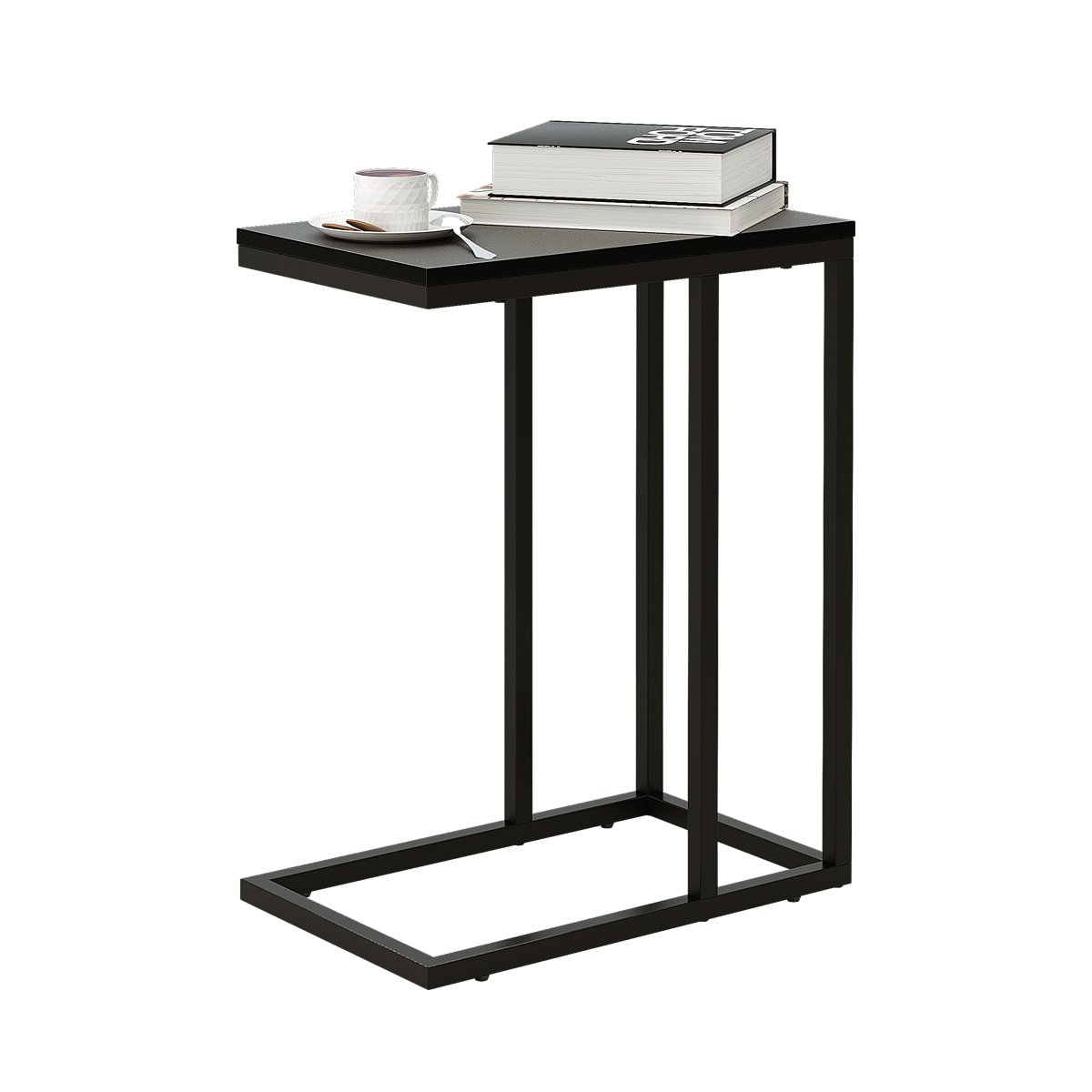 WLIVE C Shaped End Table, Snack Side Table for Sofa Couch and Bed, Black by WLIVE