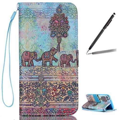 Trumpshop Smartphone Carcasa Funda Protección para Apple iPod Touch 5 (5th Gen) / iPod Touch 6 (6th Gen) + Sonreír + PU Cuero Caja Protector con Choque Absorción Elefante lindo