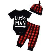 Newborn Baby Boy Girl Clothes Little Man Long Sleeve Romper,Plaid Pants + Cute Hat 3pcs Outfit Set (D-Black, 3-6 Months)