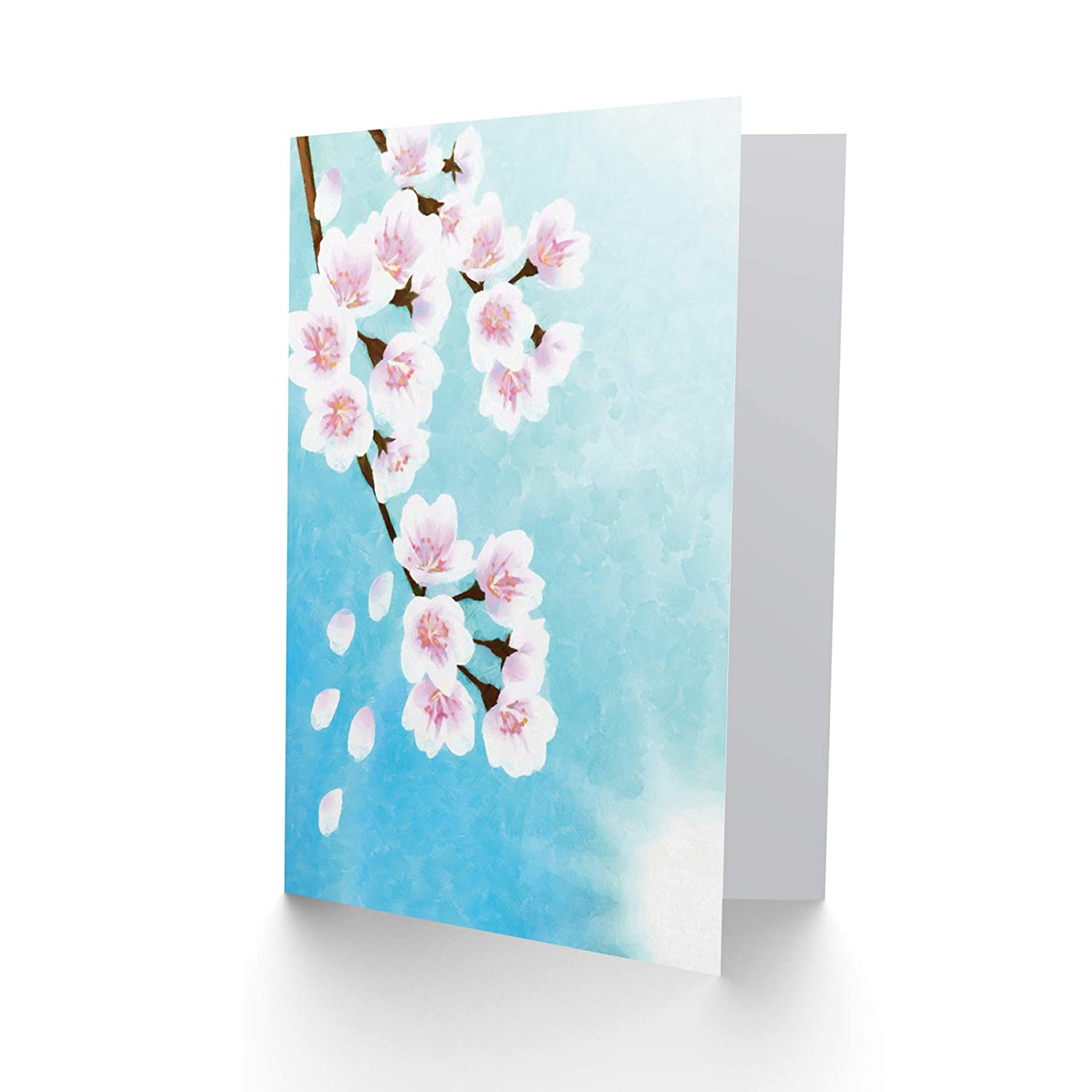 Wee Blue Coo CHERRY BLOSSOM FLORAL FLOWER PAINTING DRAWING BLANK BIRTHDAY CARD