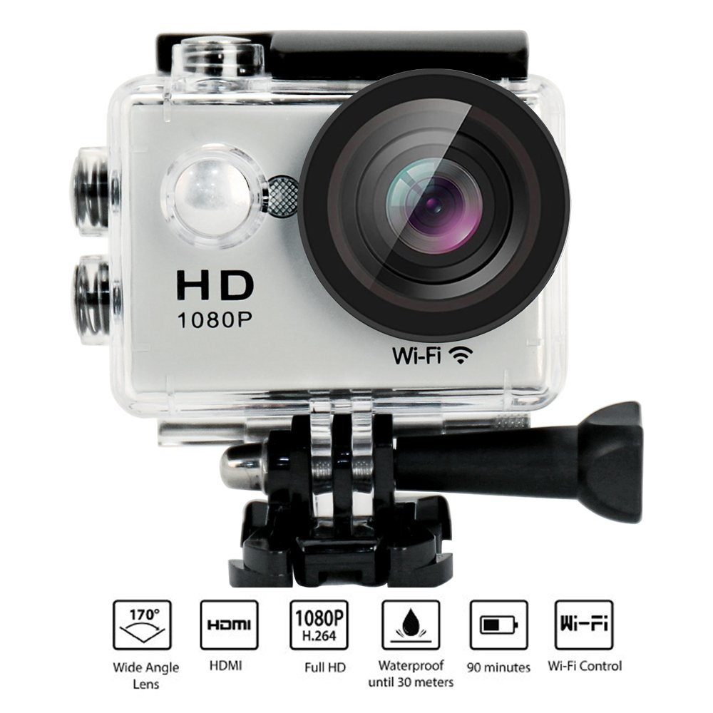 Action Camera W9 Wifi 12mp 170 Degree 1080p 2 inc LCD Digital 30M Waterproof WiFi Remote Control Car Bike Helmet Sports Action Camera Set (Silver)
