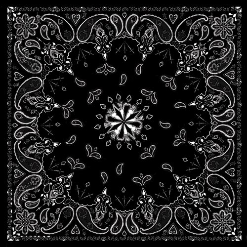 Black Paisley 100% Cotton Bandana