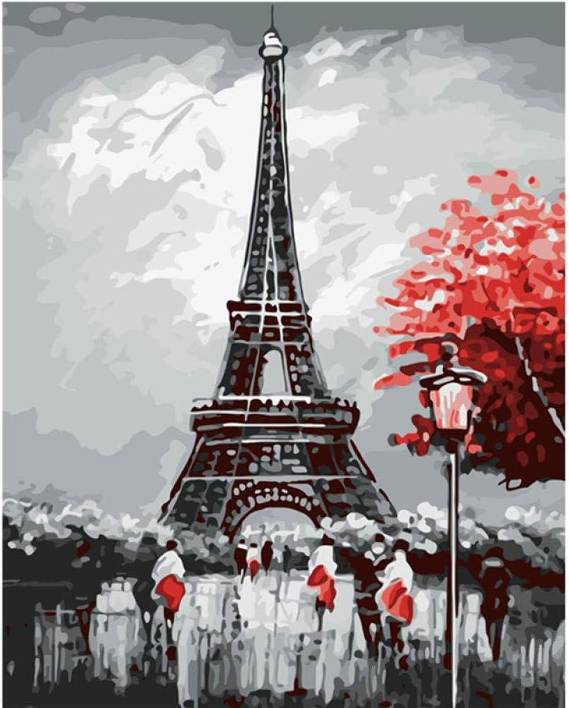 DIY 5D Kit de pintura de diamante rojo y negro Torre Eiffel paisaje pintura de punto de cruz para decoración de la pared del hogar 30 * 40 CM sin marco