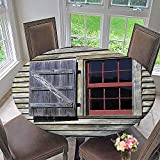 Mikihome Modern Table Cloth Original Wooden Window Shutters in Historical Village Image Cottage Style Decor Print Red Indoor or Outdoor Parties 40''-43.5'' Round (Elastic Edge)