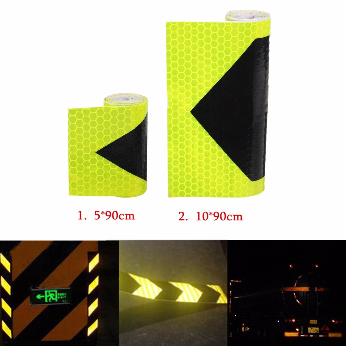 Car Trailer Truck Reflective Safety Arrows Pattern Tape Sticker Black Yellow ( 10 ) by Generic