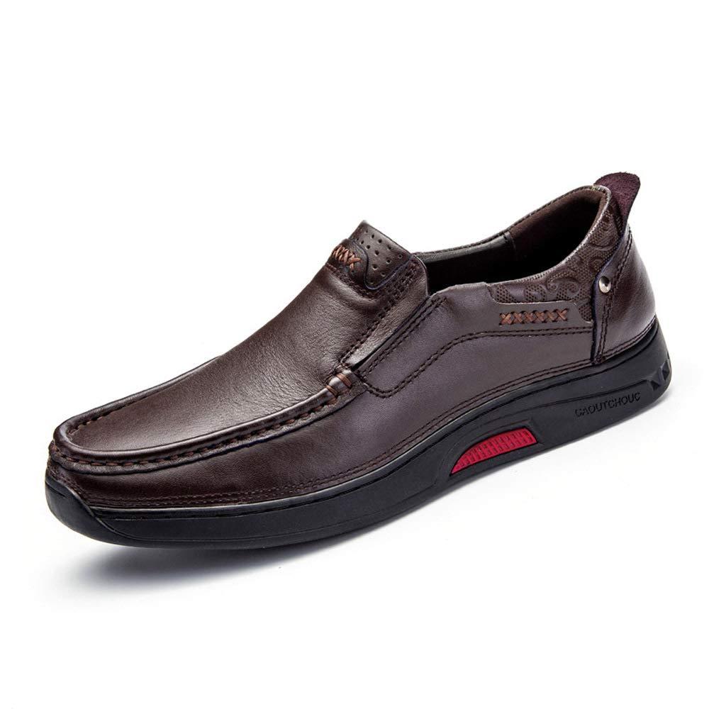WANG-LONG Schuhe Herren Martin Stiefel Herbst Retro Outdoor Atmungsaktiv Business Casual Lederschuhe Rutschfeste Mode,Dark-braun(C)-44