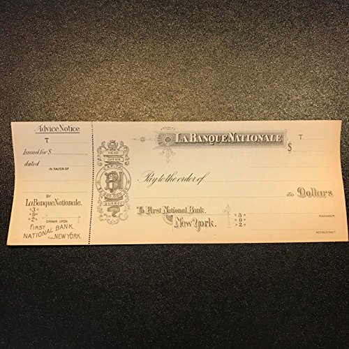 Rare La Banque Nationale Montreal Bank Original 1800S Check To Bank Of New York