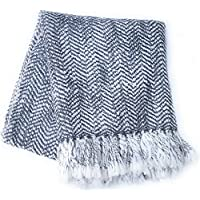 Fashion Throw - Export product for Fancy Look your ROOMS & Multipurpose use Sofa Throw, Bed Throw, Couch, Park, Picnic USE, Mandir Aasan USE-SIZE 50x60 inch Light Grey and White