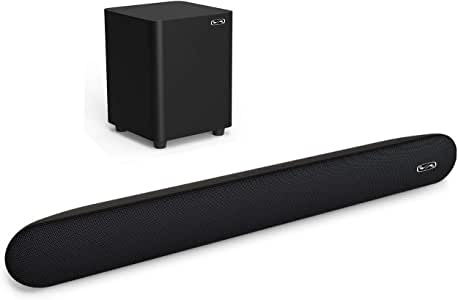BYL 2.1 Channel 140 Watt Sound Bar with Wireless Subwoofer Home Theater System (Renewed)