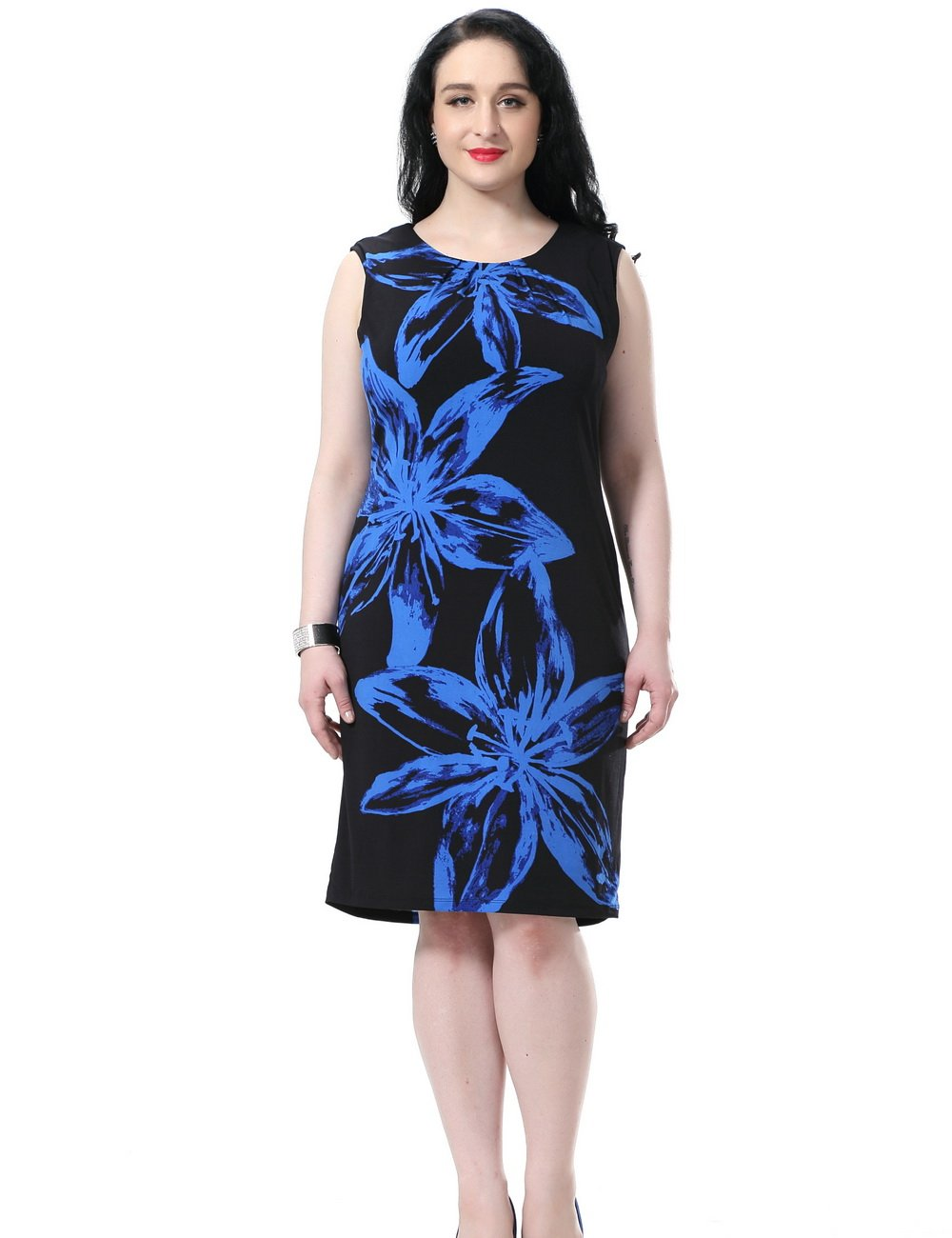 bbd624046c0 ... Friday Chicwe Women s Plus Size Lined Floral Printed Sleeveless Dress –  Knee Length Work and Casual Dress Blue 20.   