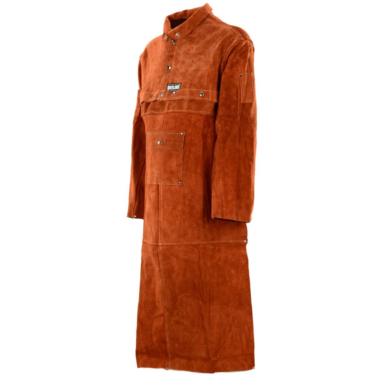 QeeLink Welding Apron with Sleeve - Heavy Duty Leather Flame Resistant Welding Jacket (X-Large)