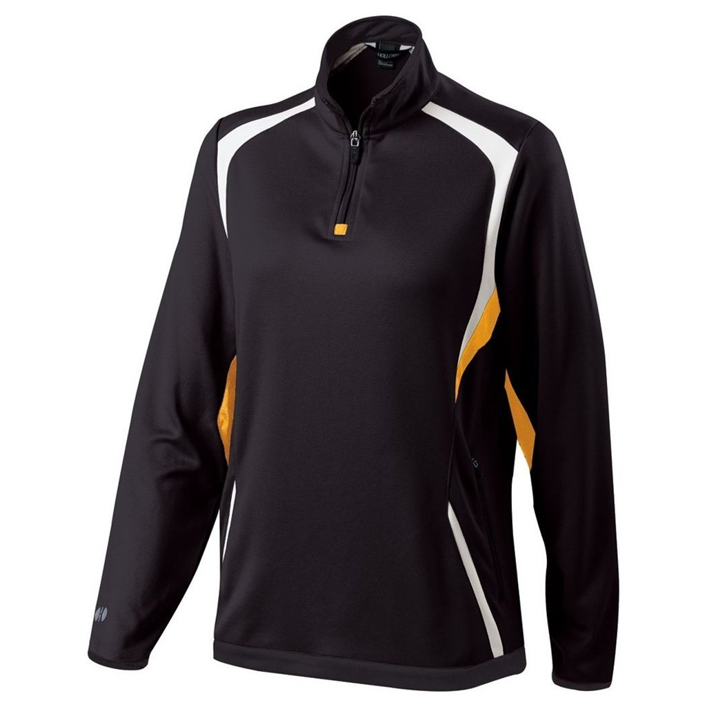 Holloway Ladies Dry Excel Transform Pullover (Large, Black/Light Gold/White) by Holloway