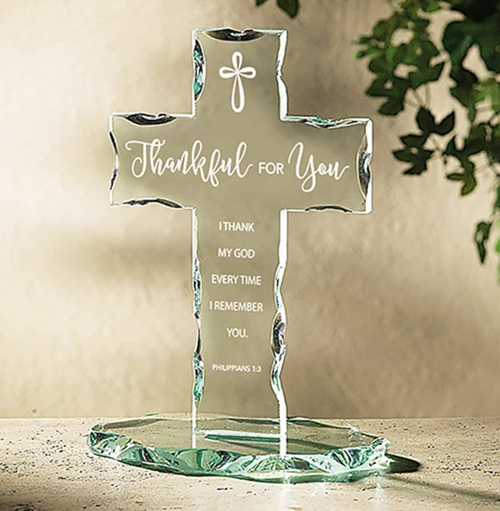Autom Glass Thankful for You Standing Cross, 7 1/8 Inch