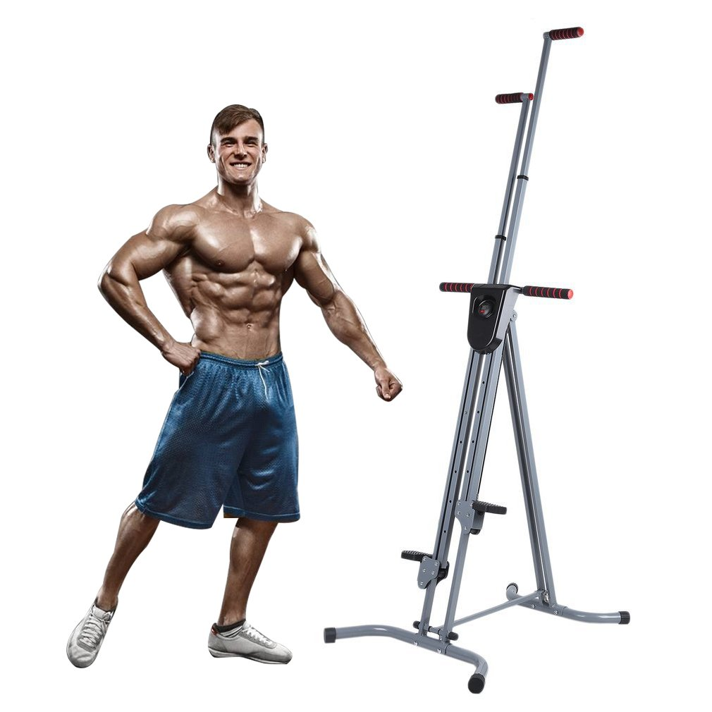 Homgrace Vertical Climber Cardio Exercise, Total Body Workout Climber Machine, Folding Climbing Machine with Resistance for Home Gym Step Climber (Grey)
