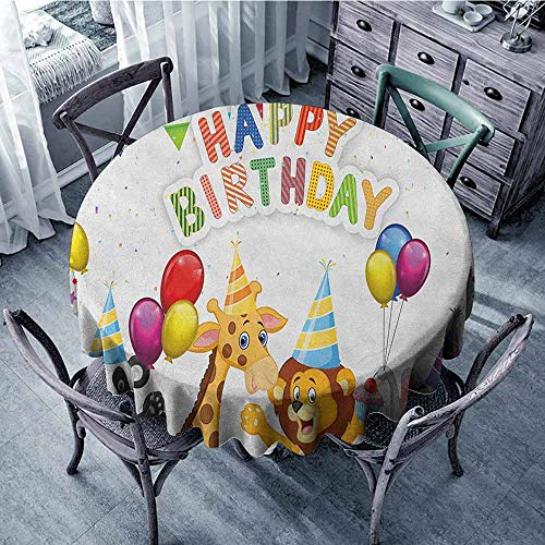 - ScottDecor Kids Round Tablecloth Christmas Tablecloth Kids Birthday,Cartoon Style Safari Jungle Animals at a Party with Flags and Balloons Image, Multicolor Diameter 70