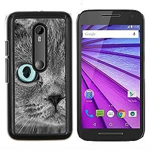 Scottish Fold Gris del ojo azul del gato persa- Metal de aluminio y de plástico duro Caja del teléfono - Negro - Motorola Moto G (3rd gen) / G3