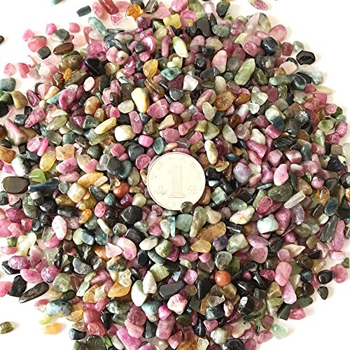 AITELEI 1 lb Natural Tourmaline Tumbled Chips Crushed Stone Healing Reiki Crystal Irregular Shaped Stones Jewelry Making Home Decoration
