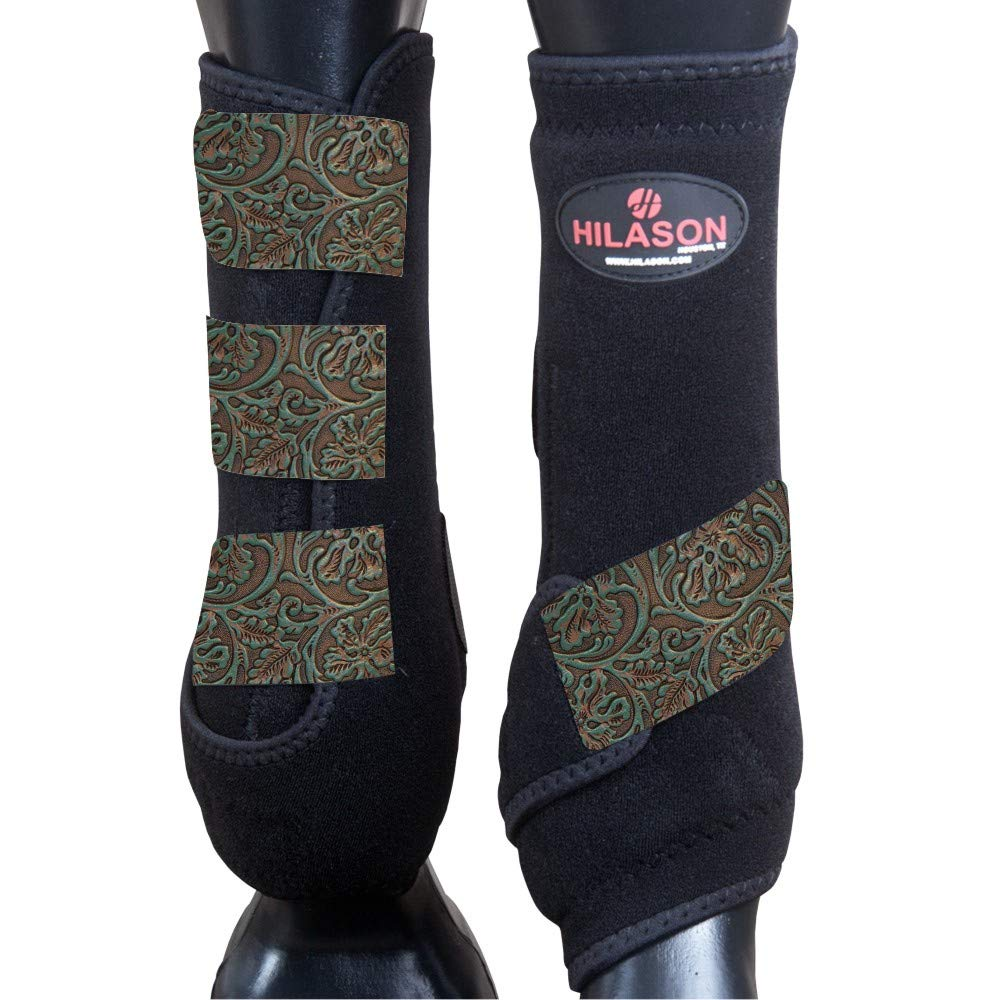 HILASON Medium Infra-TECH Horse Medicine Sports Boots Rear HIND Leg