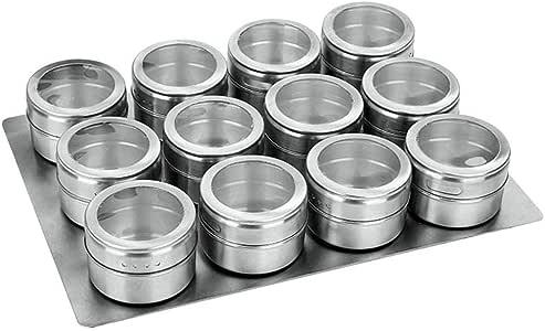 Especias para cocinar Acero Inoxidable Ingeniously Frascos magn/éticos para Especias 9 Piezas // 12 pzas Cajas de condimento Barbacoa al Aire Libre.