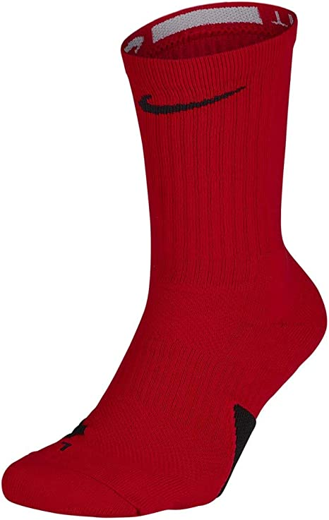 interior Iluminar Entrada  Nike Elite Basketball Crew Socks University Red/Black Size Medium: Clothing  - Amazon.com
