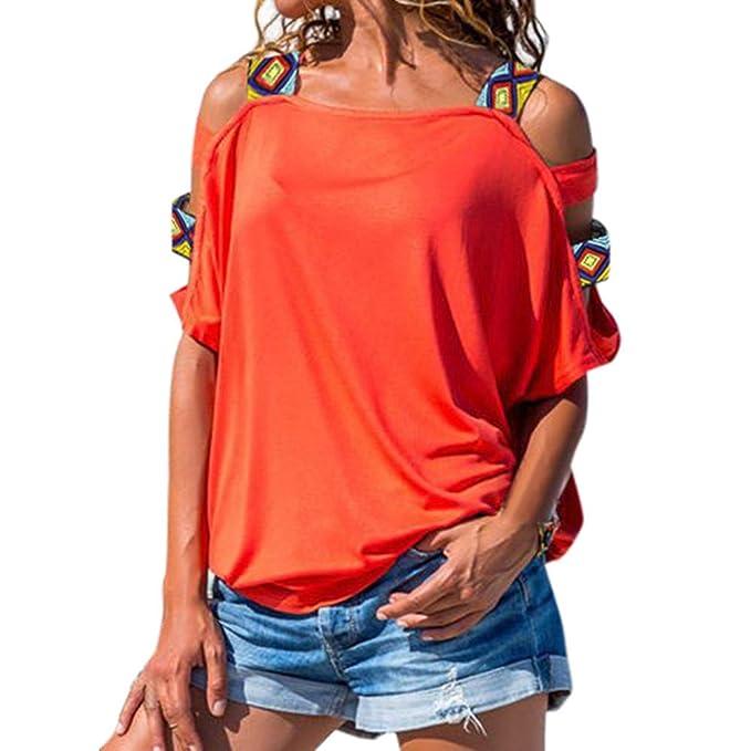 Kinlene Moda Cuello Redondo Sin Espalda Correa Cruzada Sexy Color Sólido T-Shirt Femenino Fiesta: Amazon.es: Ropa y accesorios