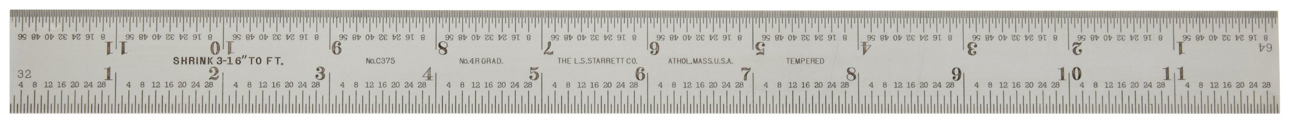 Starrett C375-12 Steel Rule With Shrink Graduations, English, 4R Graduations, 12'' Length, 1'' Width, 3/64'' Thickness
