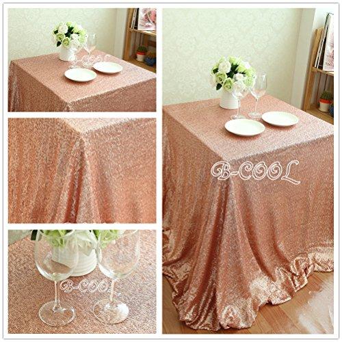 "B-COOL 50""x80"" SEQUIN RECTANGULAR Blush Sequin Tablecloth Sp"